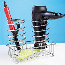 Chrome Hair Dryer and Straightener Tongs Storage Holder - Mount Stand Tidy Organiser