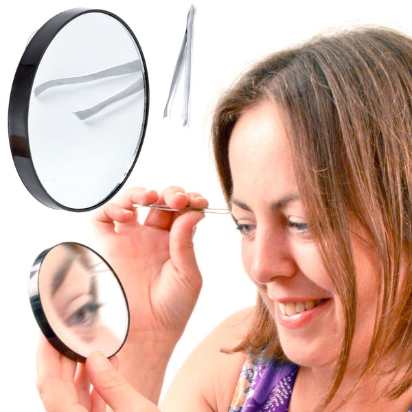 Magnifying Mirror with 10x Magnification - Travel Cosmetic or Beauty Mirror - Includes Grooming Tweezers