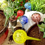 6 x Colourful Glass Plant Watering Spheres / Globes - Outdoor Garden Pot Drippers / Waterers