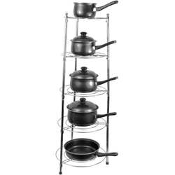 Pan Stand Storage 5 Tier Freestanding Chrome Tapered Kitchen Cooking Saucepan
