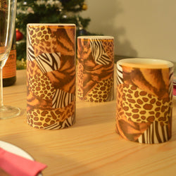 3 Electronic LED Church Candles With Animal Print Design: Real Wax - Electric Flickering with Zebra Leopard Cheetah Leopardprint