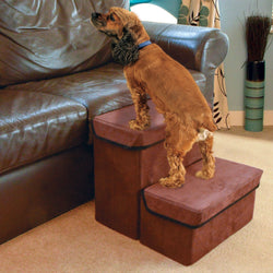 Folding Dog / Cat Steps - Pet Ladder / Stairs Hiding Two Storage Compartments Boxes