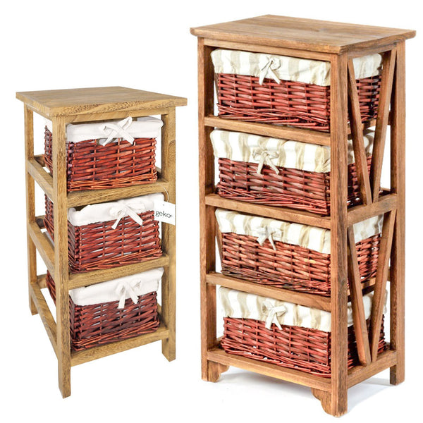 Wooden Wicker 3 or 4 Basket Rack Cabinet Storage Tower Shoe Store Hall Furniture