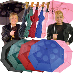 Windproof Umbrella With Automatic Push Button Opening - Black, Pink, Blue, Red or Green