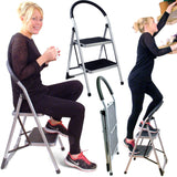 Folding Two Step Ladder Chair with Non Slip Rubber Treads