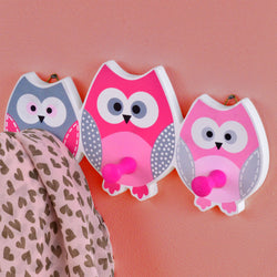 3 Owl Wall Hooks: Wooden and Painted in Pink Grey & White, Ideal Hanger for Children's Bedroom