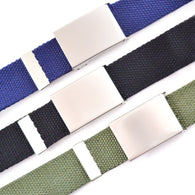 3 Army Style Combat Belts - Military Coloured Canvas Fabric with Silver Buckle