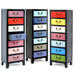 Cabinet Chest Of Filing Drawers 7 Tall Tallboy Colourful Blue Pink Rainbow
