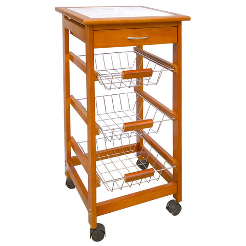 Kitchen Trolley Cart Caddy Storage 4 Basket Drawer Wheel Worktop Brown Tiles