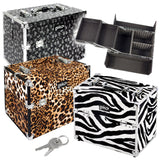 Cosmetic Organiser Storage Case: Luggage Style Beautician's Vanity Storage Box - Ideal For Nail Art, Hairdressing, Beauty - Leopard Print, Zebra Print, Black Flowers / Floral