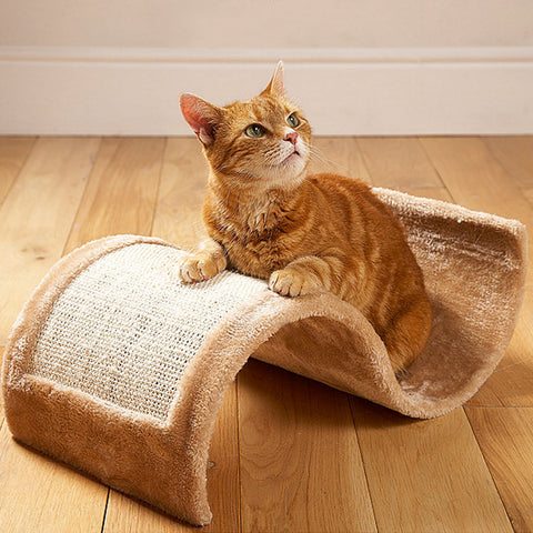 Wavy Cat Scratcher / Scratching Board with Fleece Bed - Attractive Kitten / Pet Toy