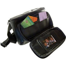 Multi-Purpose Waist Bag - Black Leather Waist Belt With Large Main Compartment And Front Section