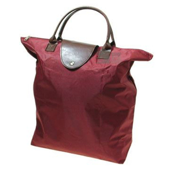 Handy Burgundy Fold Up Shopping Bag Zip Top Folding Tote Shopper With Faux Leather Handles and Trim