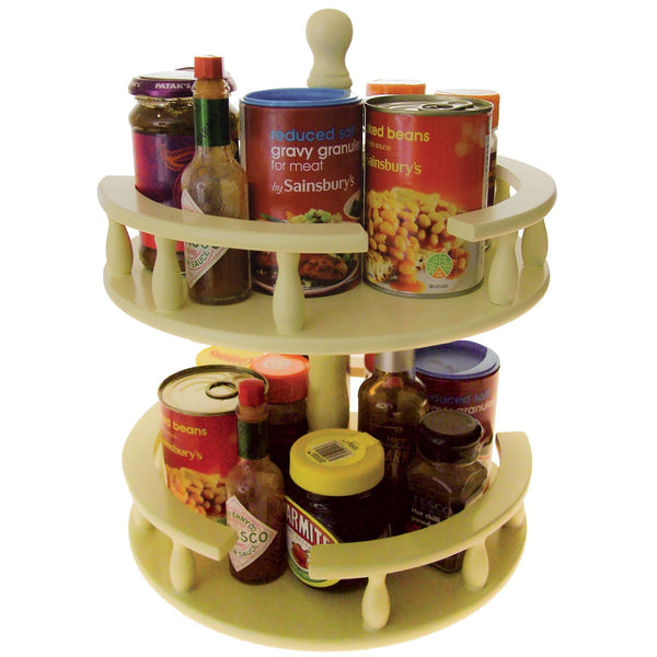 2 Tier Lazy Susan - Rotating Kitchen Carousel For Storing Herbs Spices and Condiments