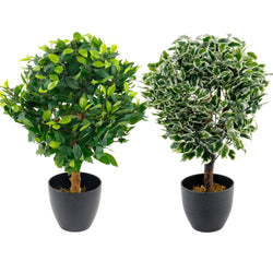 Artificial Potted Pot Plant Bush Tree Plastic Fake Ficus Ball Topiary Variegated