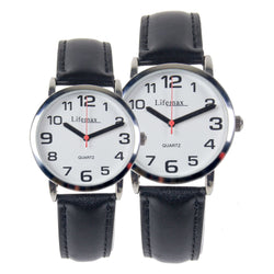 His & Hers Big Time Watch Large Print Black Numbers Leather Strap High Contrast Aid Vision