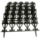 Victorian Style Black Fencing Garden Edging -  Ornate Fence Border For Lawn / Flowerbed
