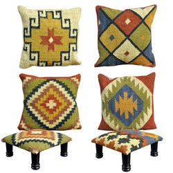 Aztec Footstools And Scatter Cushions - Matching Footrests And Cushions In A Kilem Style