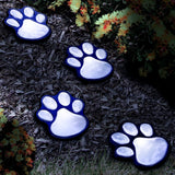 4 Solar Dog Cat Animal Paw Print Lights - Outdoor Garden LED Path Lamp - Automatically Turn On