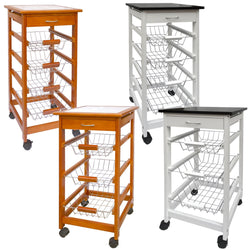 Kitchen Trolley Cart Caddy Storage 3 Basket Drawer Wheel Worktop Brown Tiles