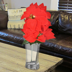 Bunch of Poinsettia Flowers: Red Artificial Bouquet Christmas Dinner Table Decoration