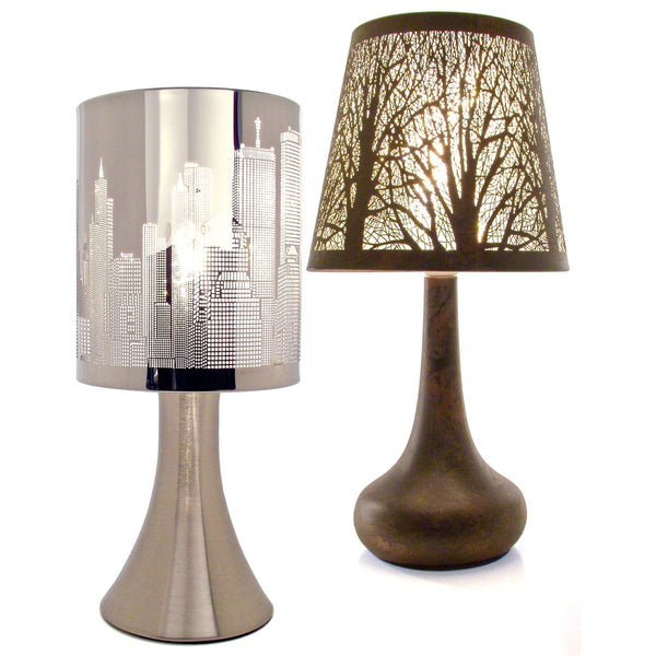 Metal Touch Operated Lamp - Chrome With City Skyline or Bronze Coloured Tree Design
