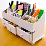 Wooden Desk Tidy Drawers / Caddy With Three Drawers And 13 Organiser Compartments