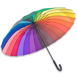 Deluxe Automatic Opening 24 Rib Rainbow Umbrella: Large Canopy, Ultra Durable, Strong And Windproof