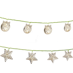 7ft Solar Powered String / Fairy Lights - Metal Garden Decoration - Silver Owl Design