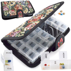 Pill Case - Week / 7 Day Medicine Organiser - Tablet Storage Holder or Dispenser in Tapestry Design