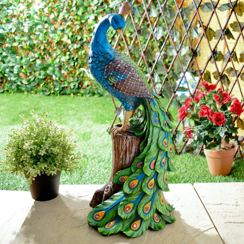 Solar Peacock Outdoor Garden Ornament / Decoration In Resin With Red  Glowing Night Lights