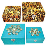Storage Boxes Jewellery Trinket Cases Containers Leopard Print Aqua Green