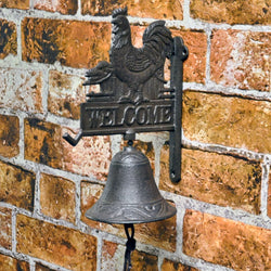 Cast Iron Vintage Design Rooster Shaped Wall Bell