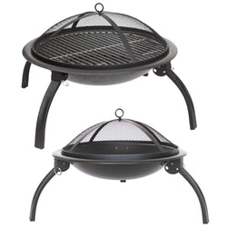 Fire Pit Garden Camping Heating Barbecue Patio Portable Folding Black Steel