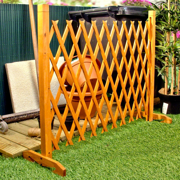 "Expanding Fence Garden Screen Trellis Style Expands to 6'2"" Freestanding Wood"