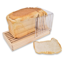 Deluxe Bread Slicing Guide: Acrylic Loaf Slicer with Wooden Crumb Tray Chopping Board Base