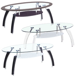 Coffee Table Glass Top Shelf Black Legs Clear Furniture Living Room Modern