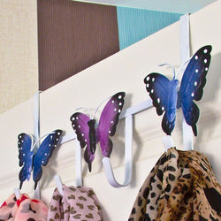 Butterfly Over The Door Metal Hanger With 4 Hooks For Bedroom And Bathroom Storage With No Fixings