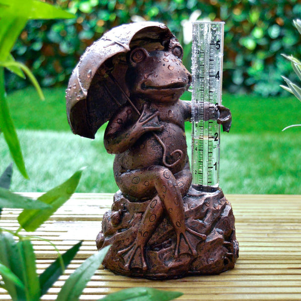 Frog Rain Gauge - Bronze Effect Toad Weather / Rainfall Measure - Outdoor Garden Ornament