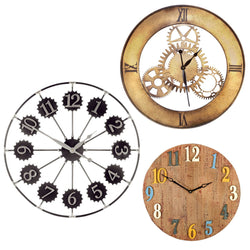 Extra Large Wall Clock in Metal or Wood - 3 Designs