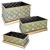 Metal Garden Plant Planters Pots Boxes Set of 3 Embossed Floral Flower Outdoor