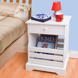 Bedside Table / Sofa End Table & Magazine Rack Drawer Storage Unit White