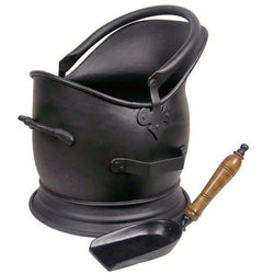 Coal Scuttle Bucket And Shovel Hod Fireside Fireplace Tall Waterloo Metal Black