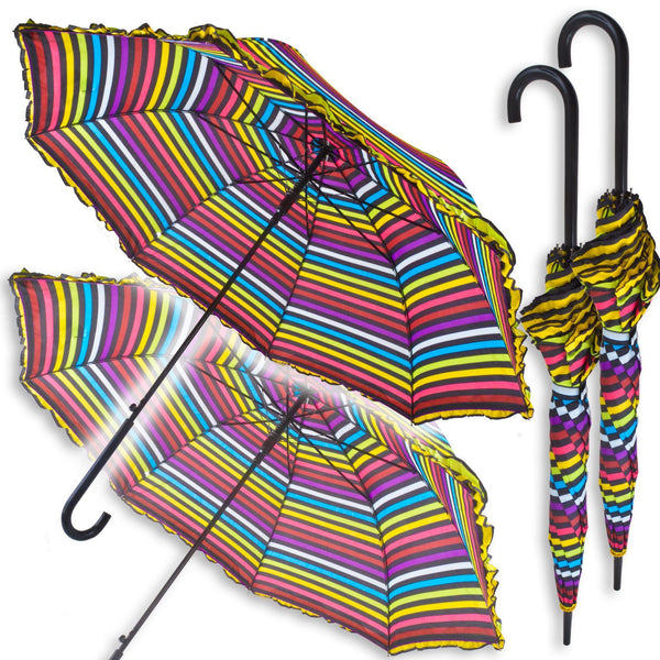 2 Automatic Opening Rainbow Umbrellas: Pair With Extra Large Canopy - Multi Colour and Black Stripes - Frilly Border