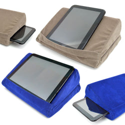 "Portable Tablet Cushion Pillow Pad Stand Fits 9.5"" Wide Tablets Storage Holder - Blue or Grey"