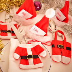 Santa Claus 6Pcs Dinner Table Decoration Cutlery Holders and/or 6pcs Hat Name Place Holders 6Pcs Dinner Table Decoration Father Christmas