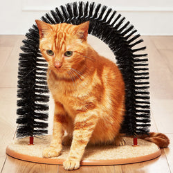 Arch Shaped Cat Scratcher and Self Groomer Brush / Massager - Pet / Kitten Toy