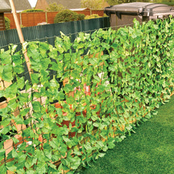 3 Metre Fence With Leaf Decoration - 3m x 1m Garden Privacy Barrier / Screening Divider