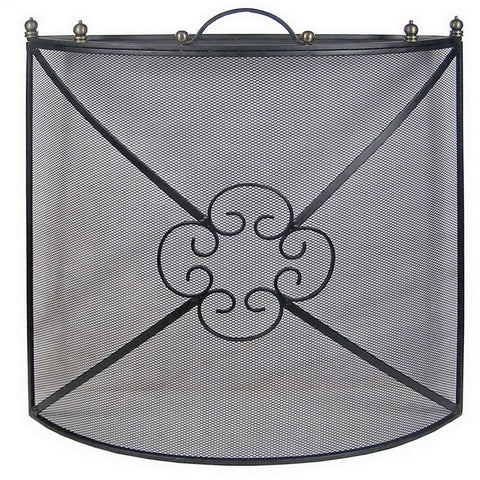 Fire Screen Fire Guard Spark Protector Cover Firescreen Black Mesh Curved Flower