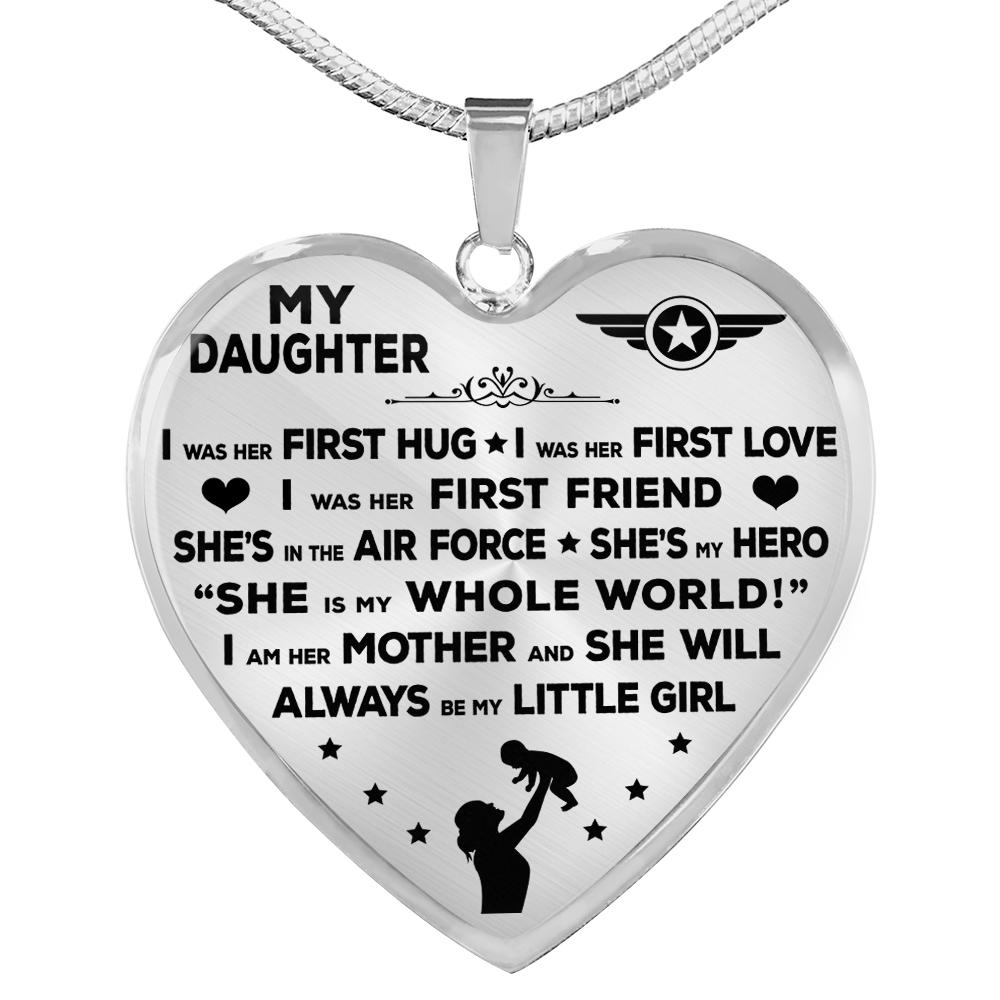 "Air Force Mom ""I Am Her Mother"" Heart Necklace 
